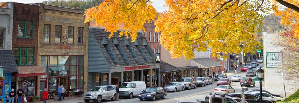 downtown Boone in autumn